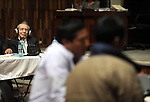 Former Guatemalan dictator, Efrain Rios Montt listens to testimony by witness Pedro Sous Cruz during the second day of his trial in the Supreme Court of Justice Guatemala CIty March 20, 2013. .