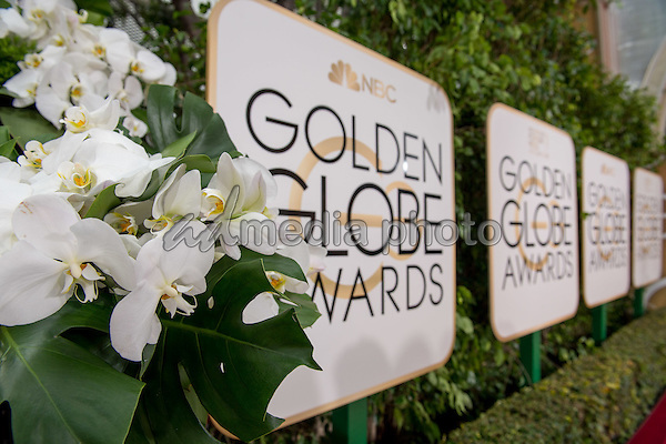 The arrival area at the 73rd Annual Golden Globe Awards at the Beverly Hilton in Beverly Hills, CA on Sunday, January 10, 2016. Photo Credit: HFPA/AdMedia