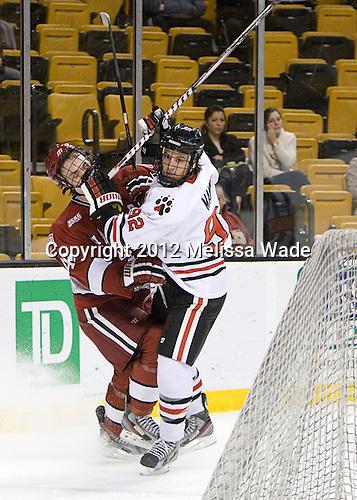Max Everson (Harvard - 44), Joseph Manno (Northeastern - 92) - The Harvard University Crimson defeated the Northeastern University Huskies 3-2 in the 2012 Beanpot consolation game on Monday, February 13, 2012, at TD Garden in Boston, Massachusetts.