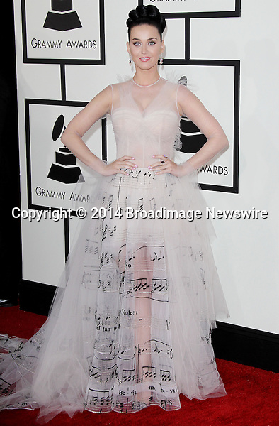 Pictured: Katy Perry<br /> Mandatory Credit &copy; Frederick Taylor/Broadimage<br /> 56th Annual Grammy Awards - Red Carpet<br /> <br /> 1/26/14, Los Angeles, California, United States of America<br /> <br /> Broadimage Newswire<br /> Los Angeles 1+  (310) 301-1027<br /> New York      1+  (646) 827-9134<br /> sales@broadimage.com<br /> http://www.broadimage.com