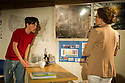 "London, UK. 16/11/2011. ""How the World Began"" opens at the Arcola theatre.  Cast: Anna Francolini (as Susan), Ciaran McIntyre (as Gene) and Perry Millward (as Micah). Photo credit: Jane Hobson"