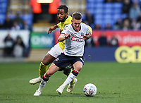 Bolton Wanderers' Craig Noone competing with Blackburn Rovers' Kasey Palmer<br /> <br /> Photographer Andrew Kearns/CameraSport<br /> <br /> The EFL Sky Bet Championship - Bolton Wanderers v Blackburn Rovers - Saturday 6th October 2018 - University of Bolton Stadium - Bolton<br /> <br /> World Copyright © 2018 CameraSport. All rights reserved. 43 Linden Ave. Countesthorpe. Leicester. England. LE8 5PG - Tel: +44 (0) 116 277 4147 - admin@camerasport.com - www.camerasport.com