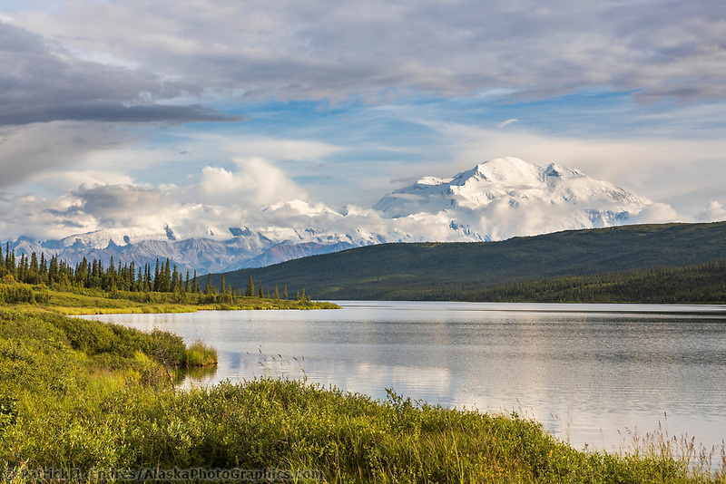 Mt. Denali, North America's tallest mountain reflecting in Wonder Lake, Denali National Park, Alaska