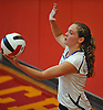 Madison Gale #14 of Kellenberg gets ready to serve during a CHSAA varsity girls volleyball match against host Sacred Heart Academy in Hempstead on Tuesday, Oct. 4, 2016. Kellenberg won the match 3-0.