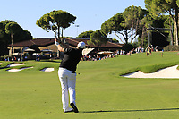 Tommy Fleetwood (ENG) plays his 2nd shot on the 18th hole during Friday's Round 2 of the 2018 Turkish Airlines Open hosted by Regnum Carya Golf &amp; Spa Resort, Antalya, Turkey. 2nd November 2018.<br /> Picture: Eoin Clarke | Golffile<br /> <br /> <br /> All photos usage must carry mandatory copyright credit (&copy; Golffile | Eoin Clarke)