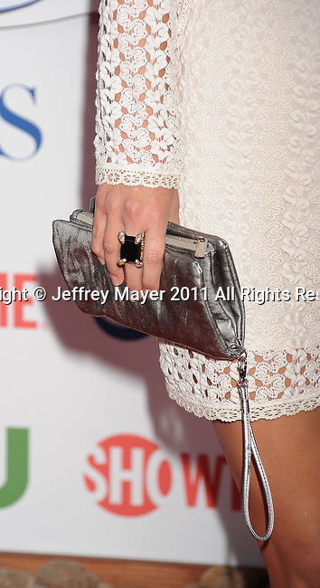 BEVERLY HILLS, CA - AUGUST 03: AJ Cook (handbag; ring detail) at the TCA Party for CBS, The CW and Showtime held at The Pagoda on August 3, 2011 in Beverly Hills, California.
