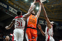 VALENCIA, SPAIN - NOVEMBER 18: James Bell, John Shurna, Randal Falker during EUROCUP match between Valencia Basket Club and CAI SLUC Nancy at Fonteta Stadium on November 18, 2015 in Valencia, Spain