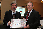 Club Director Jim Agnew presents Chief Executive of the FAI, John Delaney with Honorary membership of the Claret and Blue Club as Drogheda United's Claret & Blue steering group supported by Mr. John Delaney, FAI Chief Executive, members of the FAI, business leaders, politicians and friends formally launch 'The Future Starts Here' share initiative in the Boyne Valley Hotel....This Picture has been sent you under the conditions enclosed by:.Newsfile Ltd..The Studio,.Millmount Abbey,.Drogheda,.Co Meath..Ireland..Tel: +353(0)41-9871240.Fax: +353(0)41-9871260.GSM: +353(0)86-2500958.email: pictures@newsfile.ie.www.newsfile.ie.