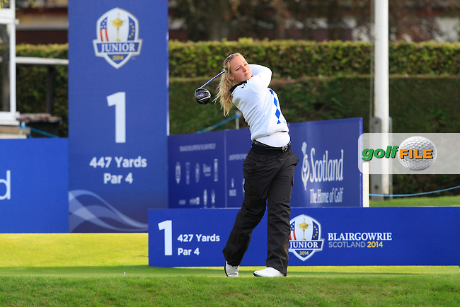Emily Pedersen (DEN) on the 1st tee during Day 2 Singles for the Junior Ryder Cup 2014 at Blairgowrie Golf Club on Tuesday 23rd September 2014.<br /> Picture:  Thos Caffrey / www.golffile.ie