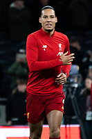 Liverpool's Virgil van Dijk during the pre-match warm up<br /> <br /> Photographer Stephanie Meek/CameraSport<br /> <br /> The Premier League - Tottenham Hotspur v Liverpool - Saturday 11th January 2020 - Tottenham Hotspur Stadium - London<br /> <br /> World Copyright © 2020 CameraSport. All rights reserved. 43 Linden Ave. Countesthorpe. Leicester. England. LE8 5PG - Tel: +44 (0) 116 277 4147 - admin@camerasport.com - www.camerasport.com