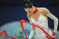 September 10, 2009; Mie, Japan;  Image shows closeup of Anna Bessonova of Ukraine with ribbon during Event Final at 2009 World Championships Mie. Anna was the 2007 AA world champion at Patras, Greece in the individual All Around. Photo by Tom Theobald