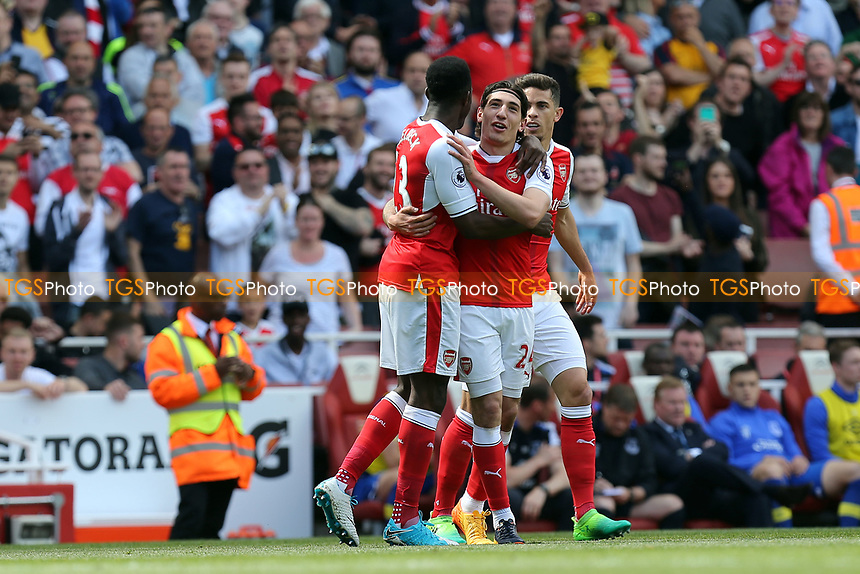Hector Bellerín of Arsenal is congratulated after scoring the opening goal during Arsenal vs Everton, Premier League Football at the Emirates Stadium on 21st May 2017