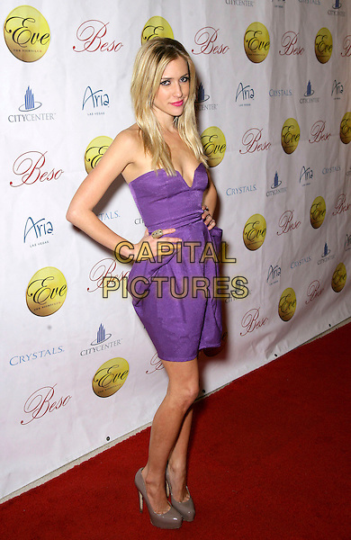 KRISTIN CAVALLARI.Celebrates her 23rd Birthday at  Eve in Crystals at City Center, Las Vegas, Nevada, USA, 9th January 2010..full length purple strapless dress cleavage brown beige grey gray greige patent shoes hands on hips platform .CAP/ADM/MJT.© MJT/AdMedia/Capital Pictures.