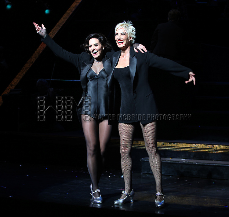 "Curtain Call - Kara DioGuardi (Grammy-nominated songwriter and former ""American Idol"" judge ) with Amra-Faye Wright as she makes her Broadway Debut as Roxie Hart in 'CHICAGO' on Broadway at the Ambassador Theatre in New York City."