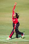 Shanzeen Shahzad of Hong Kong Women's team bowls during Day 2 of Hong Kong Cricket World Sixes 2017 match between Hong Kong Women's Team vs The Dragons Team at Kowloon Cricket Club on 29 October 2017, in Hong Kong, China. Photo by Vivek Prakash / Power Sport Images
