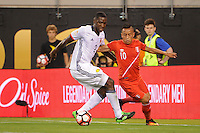 East Rutherford, NJ - Friday June 17, 2016: Cristian Zapata, Christian Cueva after a Copa America Centenario quarterfinal match between Peru (PER) vs Colombia (COL) at MetLife Stadium.