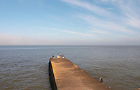 Four men sitting on a pier jetty towards the horizon fishing and looking at the sea., on the riverside seaside walk along the river Rio de la Plata Ramblas Sur, Gran Bretagna and Republica Argentina Montevideo, Uruguay, South America