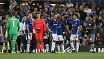 Both set of players watch the crowd violence during the Europa League Qualifying Play Offs 1st Leg match at Goodison Park Stadium, Liverpool. Picture date: August 17th 2017. Picture credit should read: David Klein/Sportimage