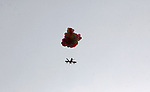 Balloons carrying flammable material are attached to a cutout of a drone as they are flown by Palestinian protesters to be sent to the Israeli side during clashes with Israeli troops in tents protest where Palestinians demand the right to return to their homeland at the Israel-Gaza border, in Khan Younis in the southern Gaza Strip on October 19, 2018. Photo by Ashraf Amra