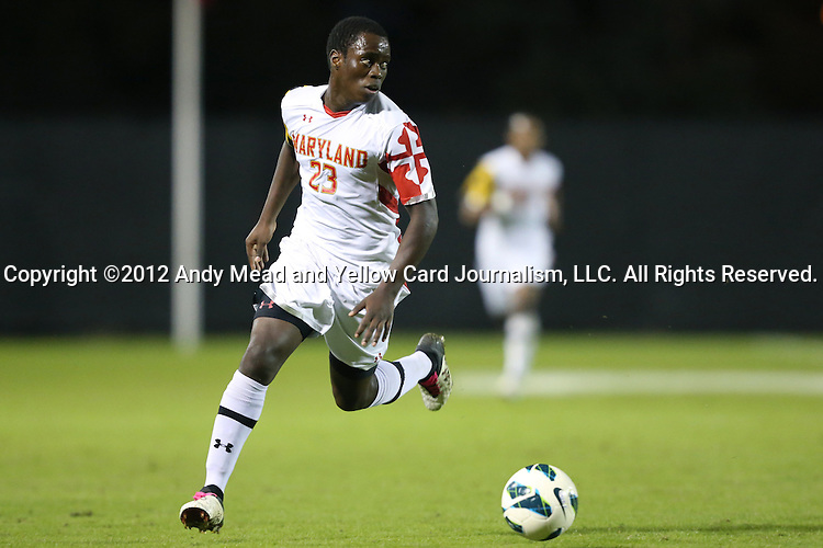 12 October 2012: Maryland's Schillo Tshuma (ZIM). The University of Maryland Terrapins defeated the Duke University Blue Devils 2-1 at Koskinen Stadium in Durham, North Carolina in a 2012 NCAA Division I Men's Soccer game.