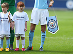 Manchester City pennant with mascot during the Women's Champions League, Semi Final 1st leg match at the Academy Stadium, Manchester. Picture date 22nd April 2018. Picture credit should read: Simon Bellis/Sportimage
