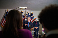 United States Senate Majority Leader Mitch McConnell (Republican of Kentucky), is joined by Senate GOP leadership as he offers remarks and fields questions from reporters following the GOP luncheon in the Hart Senate Office Building on Capitol Hill in Washington, DC., Tuesday, September 15, 2020. <br /> Credit: Rod Lamkey / CNP /MediaPunch