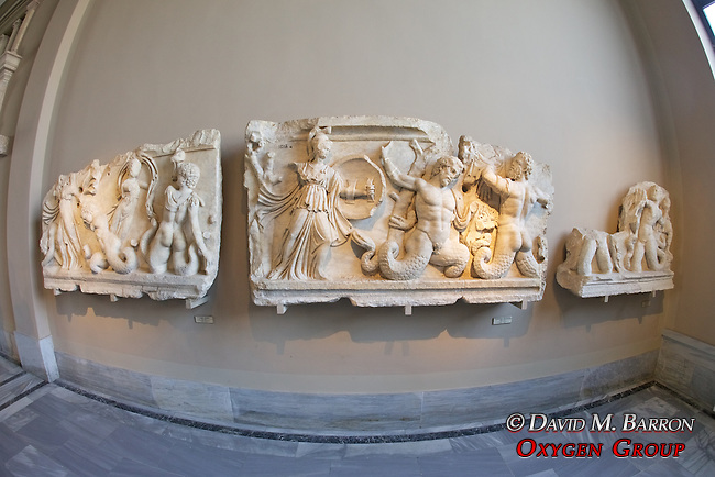 Athena To The Left Is Attacking Two Giants Who Try To Flee, Which Is A Bit Difficult With Their Serpent's Legs. Both Wear Lion Pelts, The One To The Right Tries To Protect Himself With It. Roman, 2nd Century BC From Aphrodisias, Istanbul Archaeology Museum