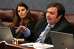 Nevada Assemblyman James Ohrenschall, D-Las Vegas, works in committee at the Legislative Building in Carson City, Nev., on Thursday, March 19, 2015. Assemblywoman Shelly Shelton, R-Las Vegas, is at left. <br /> Photo by Cathleen Allison