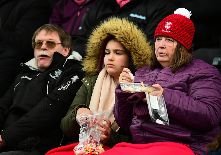 Lincoln City fans enjoy the pre-match atmosphere<br /> <br /> Photographer Andrew Vaughan/CameraSport<br /> <br /> The EFL Sky Bet League Two - Lincoln City v Grimsby Town - Saturday 19 January 2019 - Sincil Bank - Lincoln<br /> <br /> World Copyright &copy; 2019 CameraSport. All rights reserved. 43 Linden Ave. Countesthorpe. Leicester. England. LE8 5PG - Tel: +44 (0) 116 277 4147 - admin@camerasport.com - www.camerasport.com