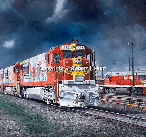 "Two Santa Fe Railroad warbonnet diesels cross paths with a Burlington unit at the BNSF Argentine Yard in Kansas City, Kansas, under threatening storm skies hanging over the midwestern plains. Oil on canvas, 22"" x 24""."