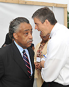 """Washington, DC - May 16, 2009 -- Rev. Al Sharpton, President of National Action Network and Education Equality Project (EEP) co-founder, left, and U.S. Secretary of Education Arne Duncan, right, share some private thoughts prior to the """"Close the Gap: Education Equality Day"""" on the White House Ellipse in Washington, D.C. on Saturday, May 16, 2009..Credit: Ron Sachs / CNP.(RESTRICTION: NO New York or New Jersey Newspapers or newspapers within a 75 mile radius of New York City)"""
