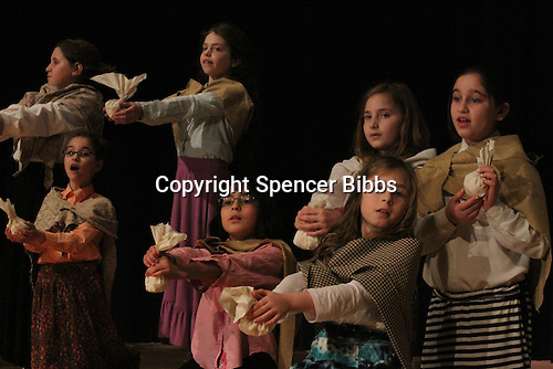 The Akiba Shechechter Middle School performed a dress rehearsal of the musical, Mary Poppins this past Friday to prepare for their Sunday afternoon performance at Kenwood Academy located at 51st and Lake Park.<br /> <br /> 0312 &ndash; 5th and 6th grade girls as the Bird Women.