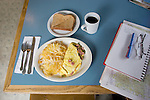 U.S.A., Northwest, Oregon, Eastern Oregon, Old mining town of Mitchell, Bridge Creek Café, Breakfast, Denver omelet, hash browns, wheat toast and black coffee, journal writing,