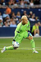 Jimmy Nielsen Sporting  KC goalkeeper rolls the ball out of the penalty box...Sporting KC defeated San Jose Earthquakes 1-0 at LIVESTRONG Sporting Park, Kansas City ,Kansas,..