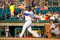 Miguel Sano (24) of the Chattanooga Lookouts bats during a game between the Jackson Generals and Chattanooga Lookouts at AT&T Field on May 7, 2015 in Chattanooga, Tennessee. (Brace Hemmelgarn/Four Seam Images)