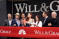 """LOS ANGELES - AUG 2:  David Kohan, Max Mutchnick, Eric McCormack, Debra Messing, Megan Mullally, Sean Hayes, James Burrows at the """"Will & Grace"""" Start of Production Kick Off Event at the Universal Studios on August 2, 2017 in Universal City, CA"""
