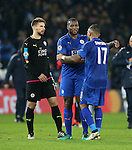 Leicester's Danny Simpson and Wes Morgan celebrate at the final whistle during the Champions League group B match at the King Power Stadium, Leicester. Picture date November 22nd, 2016 Pic David Klein/Sportimage