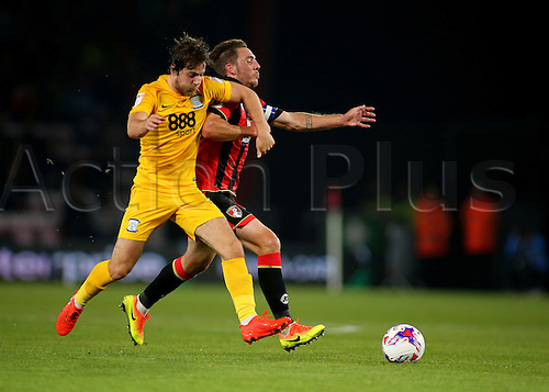 20.09.2016. Vitality Stadium, Bournemouth, England. Football League Cup Football. Bournemouth versus Preston. Bournemouth Midfielder Dan Gosling feels pressure from Preston Midfielder Ben Pearson during a Bournemouth attack