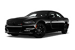 Stock pictures of low aggressive front three quarter view of a 2018 Dodge Charger R/T 4 Door Sedan