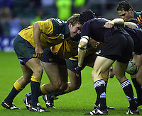 24/05/2002 (Friday).Sport -Rugby Union - London Sevens.New Zealand vs Australia.Front rows eye each other up[Mandatory Credit, Peter Spurier/ Intersport Images].