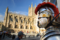 A mannequin dressed as a Roman solider, in front of Bath Abbey, Bath, UK, October 4, 2007. The city of Bath is famed for it's hot springs (the only in the UK) and it's Georgian architecture. The city is a UNESCO World Heritage Site.