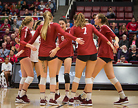 Stanford, CA - October 18, 2019: Kate Formico, Morgan Hentz, Jenna Gray, Michaela Keefe, Mackenzie Fidelak, Madeleine Gates at Maples Pavilion. The No. 2 Stanford Cardinal swept the Colorado Buffaloes 3-0.