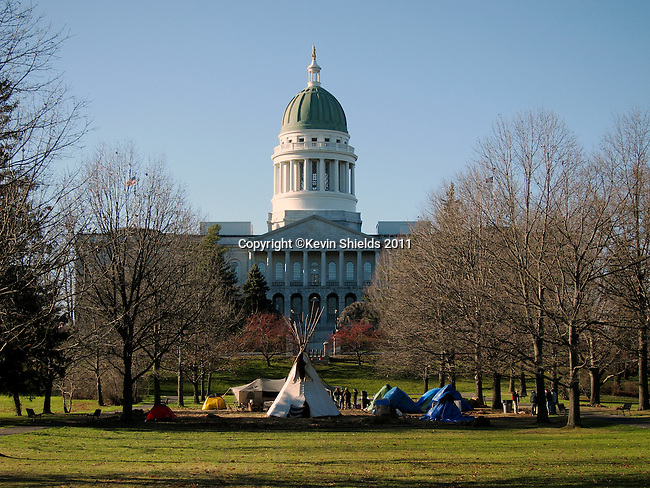 Occupy Augusta camp in front of the State House, Augusta, Maine, USA