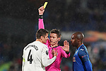 Getafe CF's Allan Nyom (r) and FC Krasnodar's Aleksandr Martynovich (l) have words with German referee Daniel Siebert during UEFA Europa League match. December 12,2019. (ALTERPHOTOS/Acero)