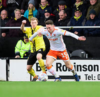 Blackpool's Jordan Thompson vies for possession with Burton Albion's Jamie Allen<br /> <br /> Photographer Chris Vaughan/CameraSport<br /> <br /> The EFL Sky Bet League One - Burton Albion v Blackpool - Saturday 16th March 2019 - Pirelli Stadium - Burton upon Trent<br /> <br /> World Copyright &copy; 2019 CameraSport. All rights reserved. 43 Linden Ave. Countesthorpe. Leicester. England. LE8 5PG - Tel: +44 (0) 116 277 4147 - admin@camerasport.com - www.camerasport.com