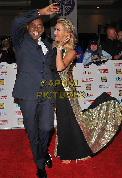 Ainsley Harriott &amp; Natalie Lowe attend the Daily Mirror Pride of Britain Awards 2015, Grosvenor House Hotel, Park Lane, London, England, UK, on Monday 28 September 2015. <br /> CAP/CAN<br /> &copy;Can Nguyen/Capital Pictures