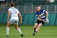 Rory Jennings of Bath United looks to pass the ball. Aviva A-League match, between Bath United and Saracens Storm on September 1, 2017 at the Recreation Ground in Bath, England. Photo by: Patrick Khachfe / Onside Images