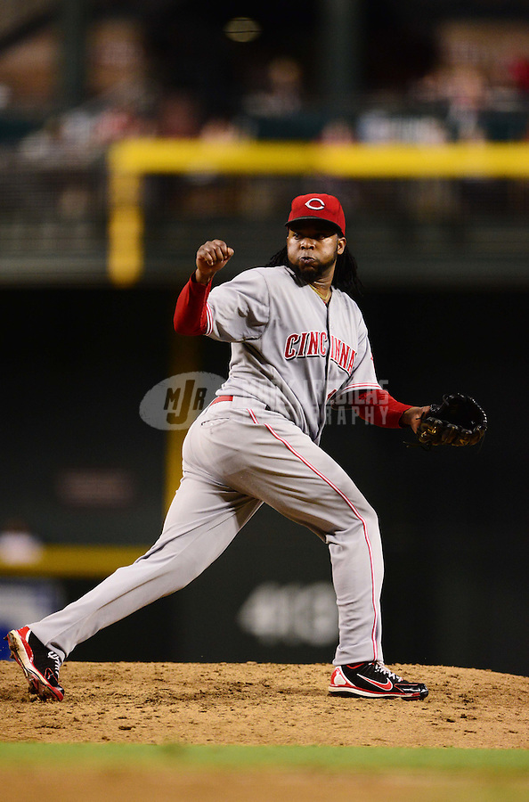 Aug. 28, 2012; Phoenix, AZ, USA: Cincinnati Reds pitcher Johnny Cueto against the Arizona Diamondbacks at Chase Field. Mandatory Credit: Mark J. Rebilas-