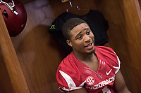 Hawgs Illustrated /BEN GOFF @NWABENGOFF<br /> Koilan Jackson, freshman wide receiver from Little Rock, talks to the press in the locker room Saturday, Aug. 5, 2017, during Arkansas football media day at the Fred W. Smith Football Center in Fayetteville.
