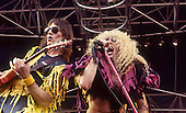TWISTED SISTER - guitarist Jay Jay French and vocalist Dee Snider - performing live at the Heavy Sound Festival in Poperinge Belgium - 10 Jun 1984.  Photo credit: Ray Palmer Archive/IconicPix